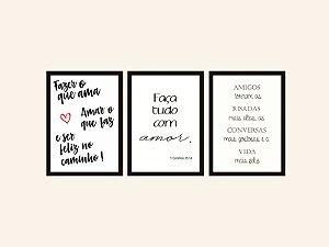 Kit 03 Quadros Decorativos - Frases