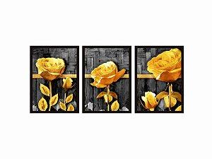 Kit 03 Quadros Decorativos - Flores Amarelas