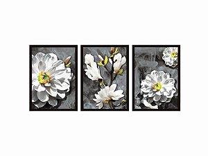 Kit 03 Quadros Decorativos - Flores Brancas