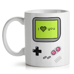 Caneca Geek Gamer Game Boy I Love U