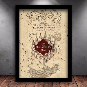 Poster com Moldura - Mapa do Maroto Harry Potter