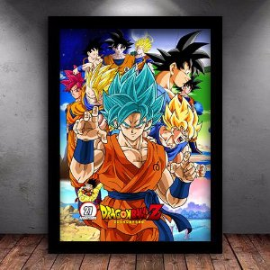 Poster com Moldura -  Goku Forms Dragon Ball Super
