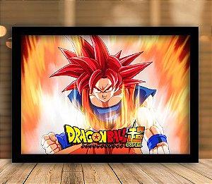 Poster com Moldura - Goku Sayajin God
