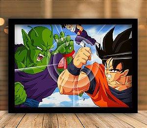 Poster com Moldura - Piccolo Vs Goku