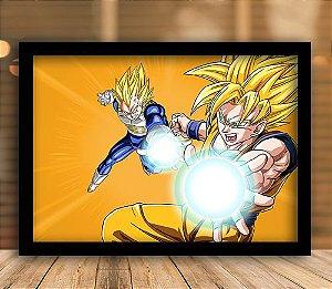 Poster com Moldura - Goku e Vegeta SSJ