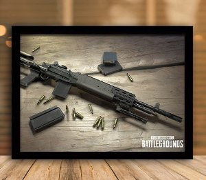 Poster com Moldura - Arma Playerunknown's Battlegrounds PUGB