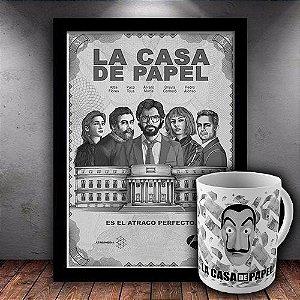 Kit - Quadro Com Moldura + Caneca La Casa De Papel
