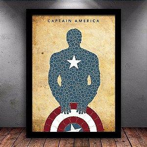 Poster com Moldura - Capitão América Retrô