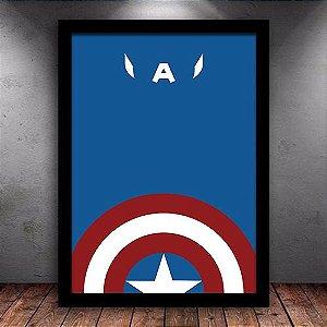 Poster com Moldura - Capitão América Minimalista
