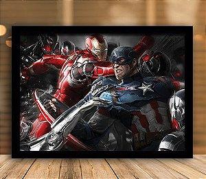 Poster com Moldura - Homem de Ferro & Capitão América