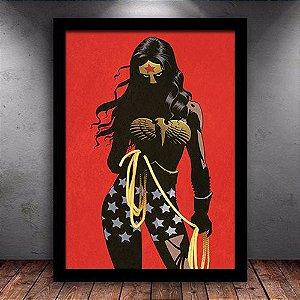 Poster com Moldura - Mulher Maravilha Silhouette