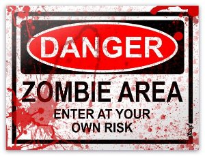 Placa Danger Zombie Area - BLOOD EDITION
