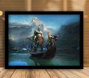 Poster com Moldura - God Of War Kratos & Atreus