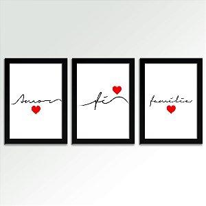 Posters com Moldura - Amor Fé e Família