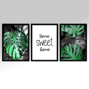 Conjunto - 03 Quadros Home Sweet Home