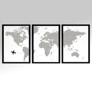 Kit 03 Quadros Decorativos - Mapa Mundi Travel 105x45
