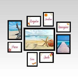 Conjunto - Quadros Decorativos Para Sala 9 Pçs Beach