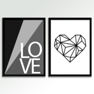 Conjunto - 02 Quadros Decorativos Love P&B