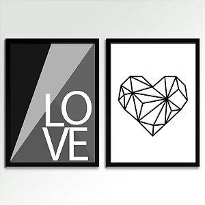 Conjunto - 02 Quadros Decorativos Love P&B