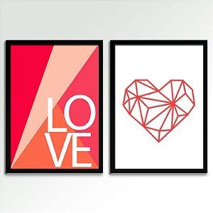 Conjunto - 02 Quadros Decorativos Love Coral
