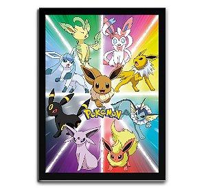 Poster com Moldura - Eevee Evolutions