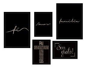 Conjunto - Quadros Decorativos Black 5 Peças