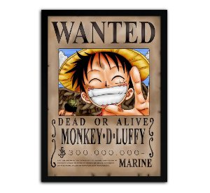 Poster com Moldura - Procurado Monkey D. Luffy One Piece
