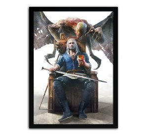 Poster com Moldura - The Witcher Geralt Dettlaff