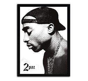 Poster com Moldura - Tupac Shakur P&B