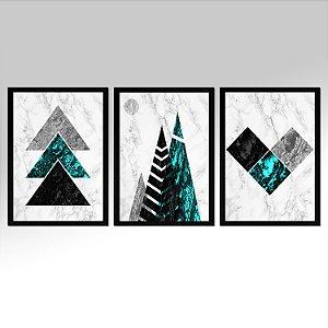 Kit 03 Quadros Decorativos - Marmore Acqua