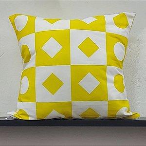 Almofada - Amarelo E Branco Com Formas Geométricas