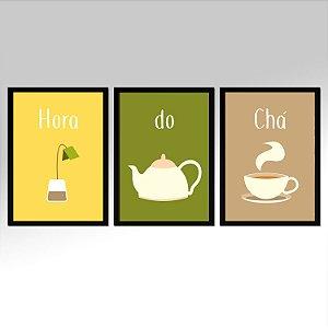 Kit 03 Quadros Decorativos Para Cozinha Hora Do Chá