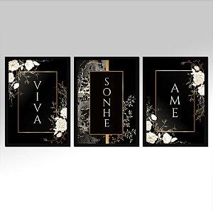 Kit 03 Quadros Decorativos - Viva Sonhe Ame