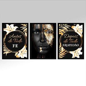 Kit 03 Quadros Decorativos - Antes De Tudo Fé Depois De Tudo Gratidão