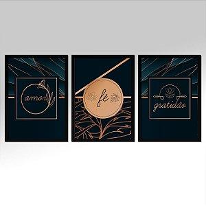 Kit 03 Quadros Decorativos - Amor Fé Gratidão