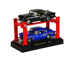 1955 CHEVROLET BEL AIR 2 PACK + ELEVADOR 1/64 M2 MACHINES AUTO-LIFT R12 M2M33000-12
