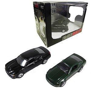 DIORAMA STEVE MCQUEEN BULLITT 2008 FORD MUSTANG GT BULLITT & 2008 DODGE CHARGER SRT8 1/64 GREENLIGHT SERIE 5 56050