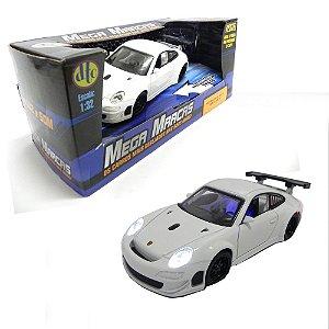 PORSCHE 911 GT3 RSR BRANCO COM FRICÇÃO LUZES E SOM 1/32 MEGA MARCAS 1741