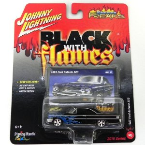 1963 FORD GALAXIE 500 1/64 JOHNNY LIGHTNING STREET FREAKS BLACK WITH FLAMES RELEASE 1 JLSF001
