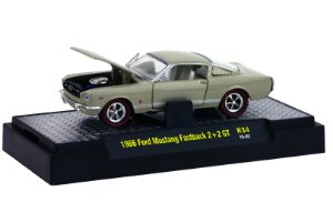 1966 FORD MUSTANG FASTBACK 2+2 GT 1/64 M2 MACHINES 32600 RELEASE 34 DETROIT-MUSCLE M2M32600-34H