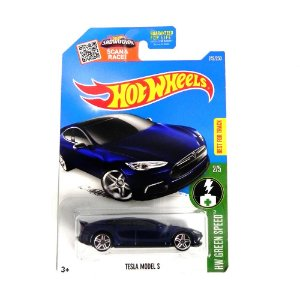 TESLA MODEL S 1/64 HOT WHEELS HW GREEN SPEED HOTDHT29-D9B0G