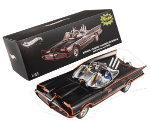 1966 BATMAN TV SERIES BATMOVEL BATMOBILE 1/18 BONECOS BATMAN E ROBIN HOT WHEELS ELITE BCJ95