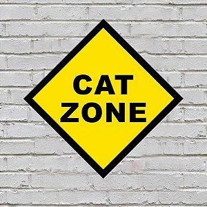 Placa de Parede Decorativa: Cat Zone