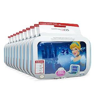 Kit Cases de Transporte Azul Disney Princess (10 unidades) - Nintendo 3DS, 3DS XL, DSi e DS Lite