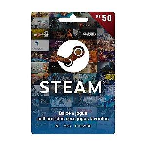 Cartão Presente Steam Brasil R$50