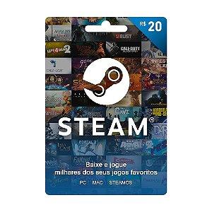 Cartão Presente Steam Brasil R$20
