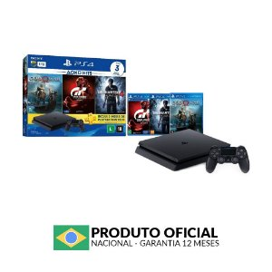 Console PlayStation 4 Slim 1TB + 3 Jogos + 3 Meses Plus - Sony