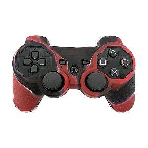Capa de Silicone Camuflagem Vermelho/Preto para Controle Dualshock 3 - PS3