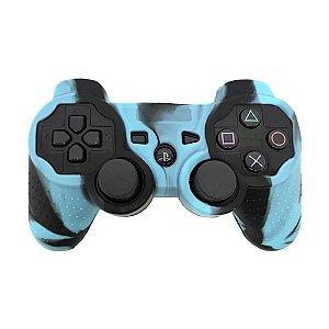 Capa de Silicone Camuflagem Azul Claro/Preto para Controle Dualshock 3 - PS3