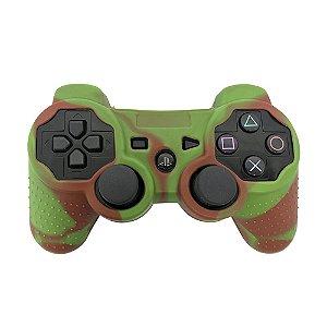 Capa de Silicone Camuflagem Verde Claro/Vermelho para Controle Dualshock 3 - PS3